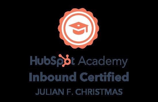Julian F. Christmas er certificeret i Hubspot - Inbound Marketing