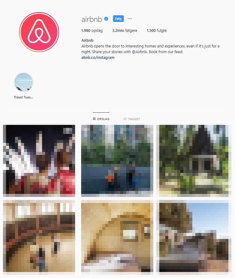 AirBnB gør det rigtigt godt på Instagram hvor har mange billeder direkte fra deres brugere