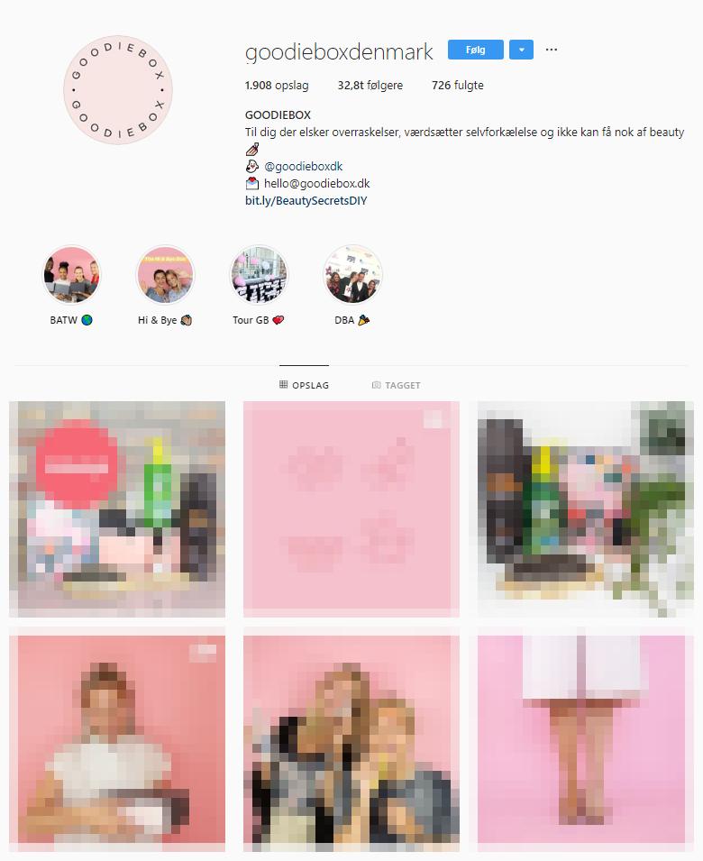 Goodiebox har et engageret community af brand ambasadører på Instagram