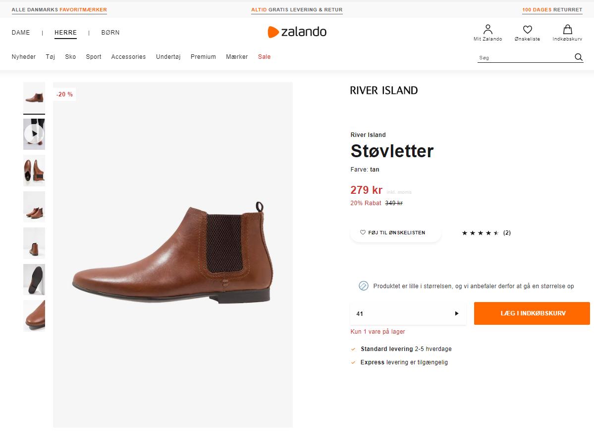 Zalando viser her et godt eksempel på hvordan du kan udnytte FOMO når du vil sælge mere på din webshop